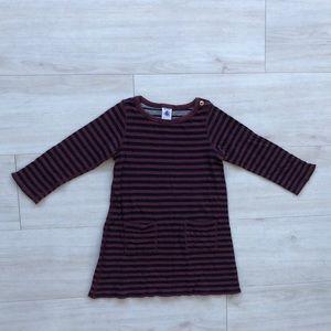 Petit Bateau striped dress 4 pockets maroon blue
